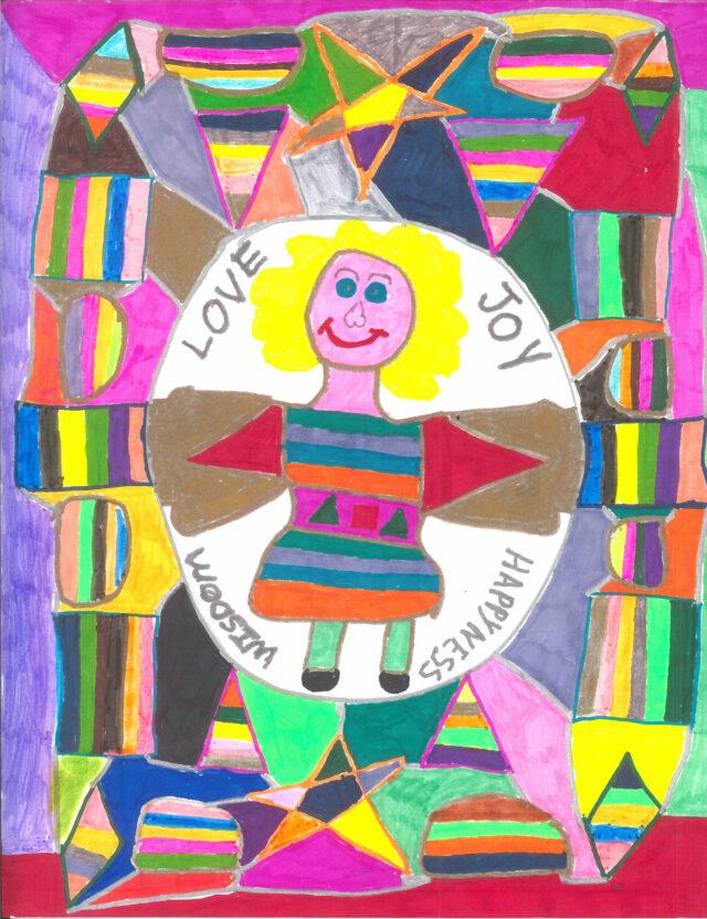 Painting that reads Love Joy Wisdom Happyness