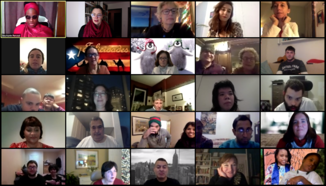 Screenshot of participants in the Gala Premiere of three SDMNY videos on December 18, 2020.