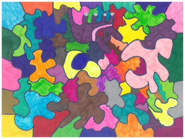 Colorful drawing with different colored puzzle pieces that fit together